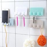 バスルームストレージラックウォールマウントシェーバーホルダーオーガナイザー4ハンガーフックタオルシェルフキーペグ強力な吸引電話充電ラック