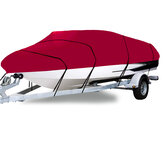 210D 11-22FT Heavy Duty Boat Cover Waterproof Dustproof Trailerable Fishing Ski Bass V-Hull Runabouts Red