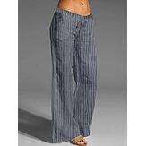 Cintura con cordón de raya suelta casual Yoga Bolsillo transpirable deportivo Pantalones