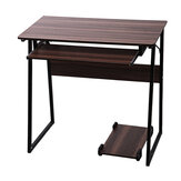 GuosArten Trapezoidal Computer Desk Table Writing Study Desk Office Workstation with Keyboard and Mainframe Stand for Office Home