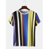 Camisetas de manga corta casuales con estampado de rayas verticales para hombre