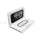 Electric LED 12/24H Alarm Clock With Phone QI 10W Wireless Charger Table Digital Thermometer LED Display Desktop Clock Perpetual Calendar
