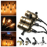 E27 Edison Chandelier Screw Bar House Retro Lamp Head Triple Light Bulb Adapter Sockets