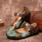SOCOFY Retro Leather Embossed Flower Hollow Round Toe Comfy Soft Sole Flat Shoes