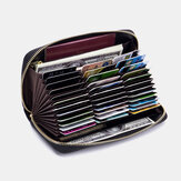 Women Genuine Leather RFID Organ Design Multi-card Slot Clutch Purse Long Wallet