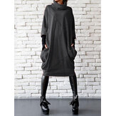 Women Solid color Turtleneck Neck Patchwork Casual Dress