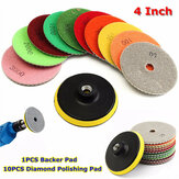 10pcs 4 Inch 50 to 3000 Grit Diamond Polishing Pads With Backer Pad