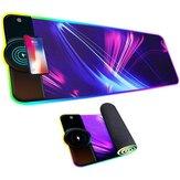 10W / 7,5W Qi Charge sans fil RVB Tapis de souris de jeu lumineux Ordinateur Macbook Tapis de souris