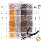 DIY 24 Grids Jewelry Making Starter Kit Brinco Ganchos Pinos Alicate Craft Supply