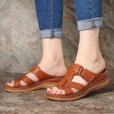 LOSTISY Mujer Comfy Hollow Out Gancho Loop Wedges Sandalias