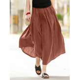 Casual Solid Elastic Waist Pleated Spliced Cotton Skirt For Women