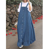 Women Sleeveless Button Flounce Hem Casual Loose Dress
