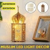 En bois bricolage eid mubarak ramadan nuit lumière LED lanterne chaîne lampe décoration