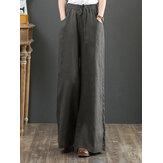 Dames effen kleur elastische taille trekkoord wijde pijpen broek met zak