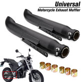 2X Motorcycle Exhaust Muffler Pipe Tip Retro Vintage Rear Pipe Tube Black For Bobbers