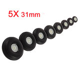 5X 31MM Rubber Wheel For RC Airplane And DIY Robot Tires
