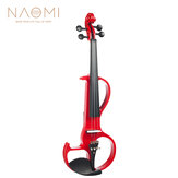 NAOMI Electric Violin 4/4 Violin Electric Violin Hard Case + Cable + Headphone Red Color Set