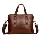 Vintage PU Leather Business Handbag Crossbody Shoulder Bag
