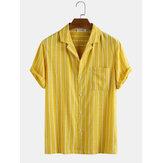 Erkekler 100% Pamuk Şerit Göğüs Cep Tatil Rahat Gömlek