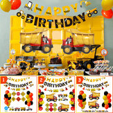Construction Truck Birthday Flag Sign Cake Insert Aluminum Film Balloon Engineering Car for Party Decoration