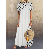Polka Dot Print Patchwork Short Sleeve Holiday Bohemia Maxi Dress For Women