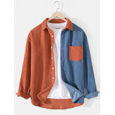 Mens Patchwork Corduroy Color Block Long Sleeve Shirts With Pocket
