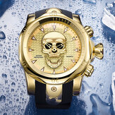 Large Dial Men Business Watch Ghost Head Skull Dial Silicone Band Waterproof Quartz Watch