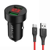 BlitzWolf® BW-SD6 24W QC3.0 QC2.0 Dual USB Mini Car Charger With BlitzWolf® BW-TC14 3A USB Type-C Cable Fast Charging For iPhone 12 11Pro XS Mi10 POCO X3 OnePlus 8Pro