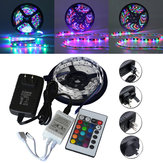 5M SMD 3528 300 Waterdichte LED RGB Strip Flexibel Licht 24 sleutel IR afstandsbediening + Power Adapter DC12V