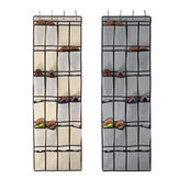 24 Pockets Hanging Shoes Organizer Storage Bag Hanger Door Back Keys Small Items Storage Shelf Wall Cabinet with 4 Hooks