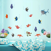 Coloful Under Water World Wall Sticker Sala de estar Decoração para casa Creative Decal DIY Mural Wall Art