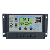 12V/24V Auto Solar Controller 10A-60A 3-stage PWM Solar Charge Controller Battery Regulator Dual USB LCD Display