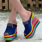 Sandali da donna con zeppa ribattino Rainbow Colorful fibbia peep toe estate spiaggia zeppa