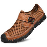 Men Cowhide Toe Protected Breathable Soft Casual Shoes