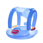 Kids Baby Swim Seat Boat Inflatable Float Cushion Sunshade Swimming Ring-Blue/Pink