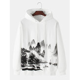 Original              Mens Chinese Style Ink Landscape Painting Print Drop Shoulder Long Sleeve Hoodies