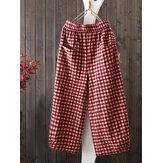 Dames Vintage losse elastische taille geruite harembroek met zakken