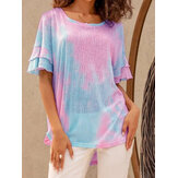 Mujeres Verano Color Gradient Ruffle Sleeve High Low Hem Daily Casual T-shirt