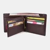 Men RFID Genuine Leather Multi-card Slots Money Clip Wallet