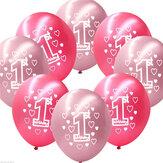 10ParSetPinkGirl1er Anniversaire Imprimé Ballons Nacrés Décoration De Noël