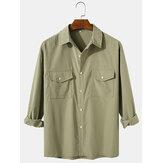 Flap Cepler ile Erkek Düz Renk Pamuk Casual Yaka Normal Fit Uzun Kollu Gömlek