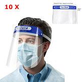 10PCS Anti-fog Transparent Plastic Full Face Shield Protective Face Mask Anti-Spitting Splash Facial Cover With Forehead Cushion