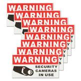 8個のセキュリティカメラ使用中自己綴りステッカー安全サインデカール防水