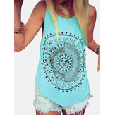Disk Letter Print Round Neck Loose Summer Casual Tank Tops