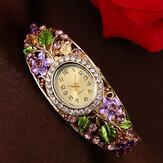LVPAI XR1685 Relógio de pulseira de senhoras de estilo retro Relógio de quartzo de aço completo