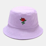 Women Summer UV Protection Floral Pattern Embroidery Casual Cute Sun Hat Bucket Hat
