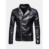 Мужская асимметричная байкерская куртка с отворотом на молнии вскользь с карманами на молнии