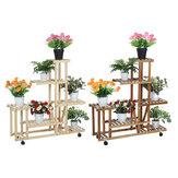 Jardim de madeira multicamadas Planta Vaso de flores Suporte Prateleira Viveiro Prateleiras Expositores Rack Espada Pá Harrow Ferramentas para vasos