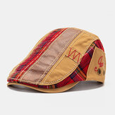 Collrown Unisex Patchwork Letter Pattern Embroidery Casual Vintage Beret Flat Cap Forward Hat
