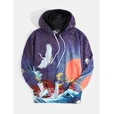 Heren Ukiyoe-hoodies in etnische stijl met landschapsprint en kangoeroezak